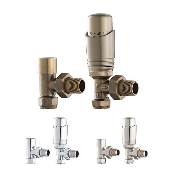 The Lewes UK11 Thermostatic Radiator Valve Set (TRV) | Angled | Arroll