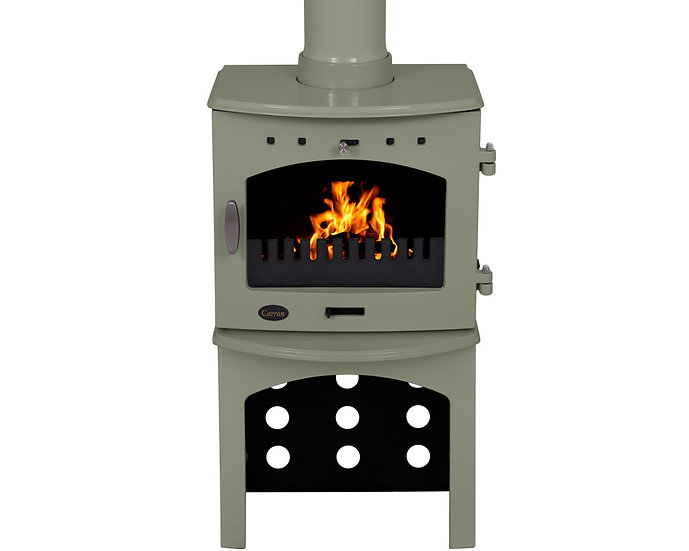 Carron 7.3KW Stove Log Store | Sage green