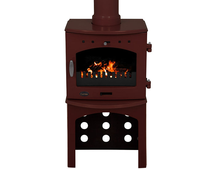 Carron 4.7KW Stove Log Store | Red Black