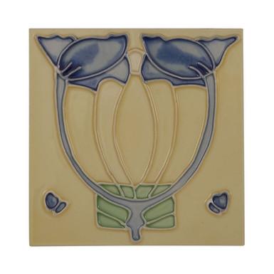 Set of 10 Blue Flower on Cream Tiles | Carron