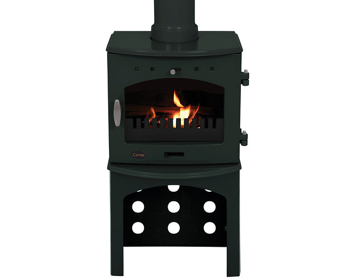 Carron 4.7KW Stove Log Store | Green Black
