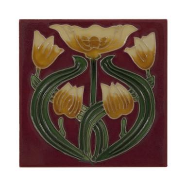 Set of 10 Yellow Tulip on Red Tiles | Carron