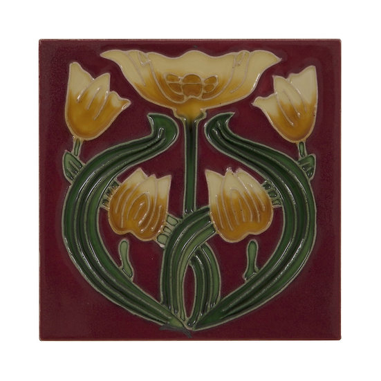 Set of 10 Yellow Tulip on Red Tiles | Carron