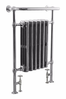 Broughton Steel Towel Rail in Chrome with Victorian Cast iron Sections   Carron