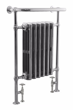 Broughton Steel Towel Rail in Chrome with Victorian Cast iron Sections | Carron