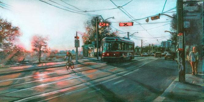 """Broadview Streetcar"", print on panel"
