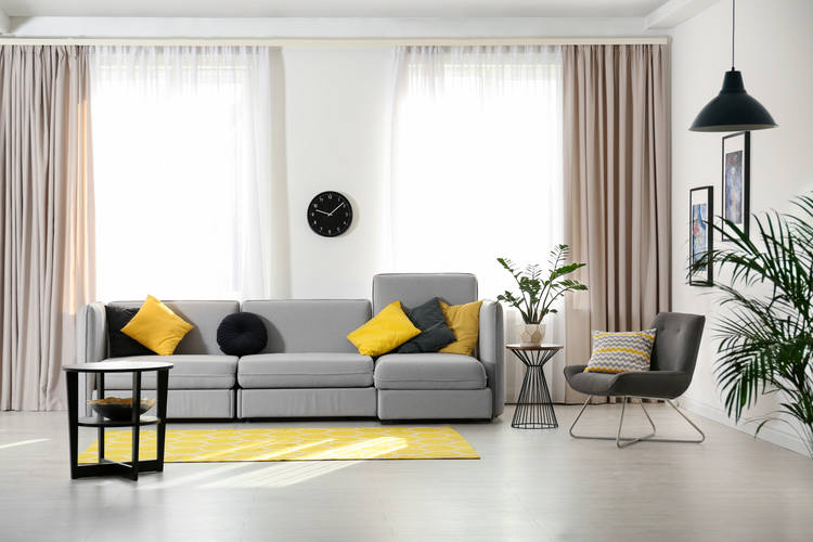 Stylish living room interior with comfor