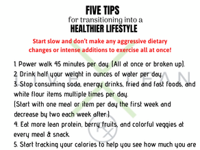 5 TIPS for Transitioning Into A Healthier Lifestyle