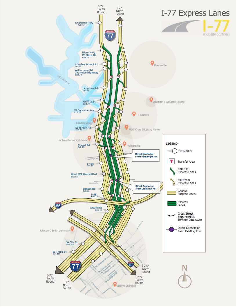 Charlotte 1-77 express lanes map