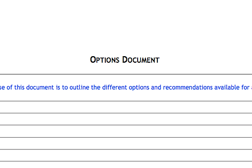 Options Document Template