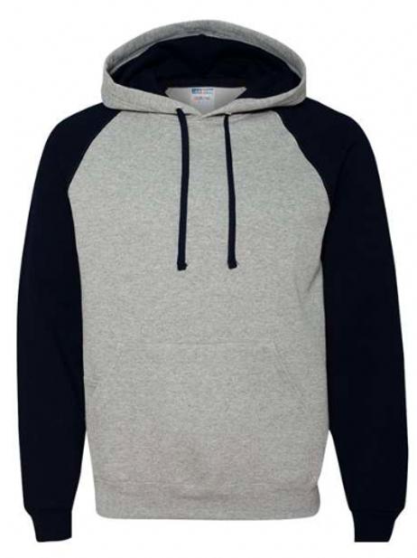 Item #96CR - Jerzees - Nublend® Colorblocked Raglan Hooded Sweatshirt