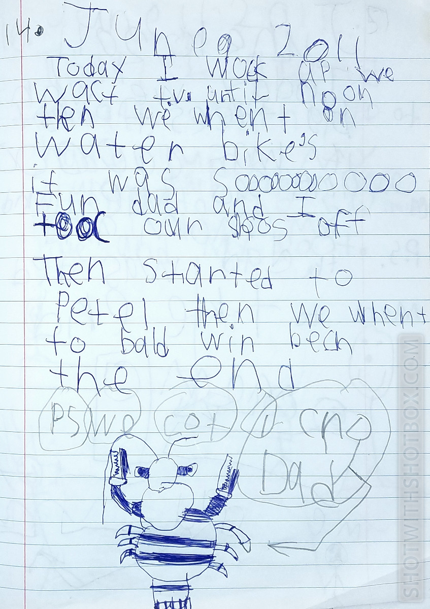 7 Year Old's Journal Entry