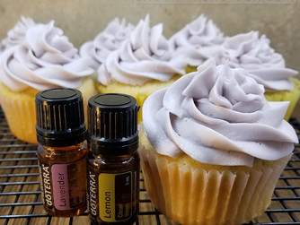 Lemon Cupcakes with Lavender Vanilla Frosting (Flavored with Essential Oils)
