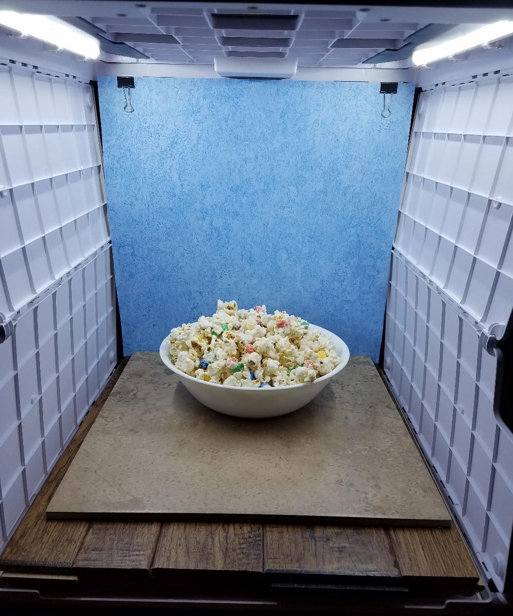 White Chocolate Covered Popcorn Setup