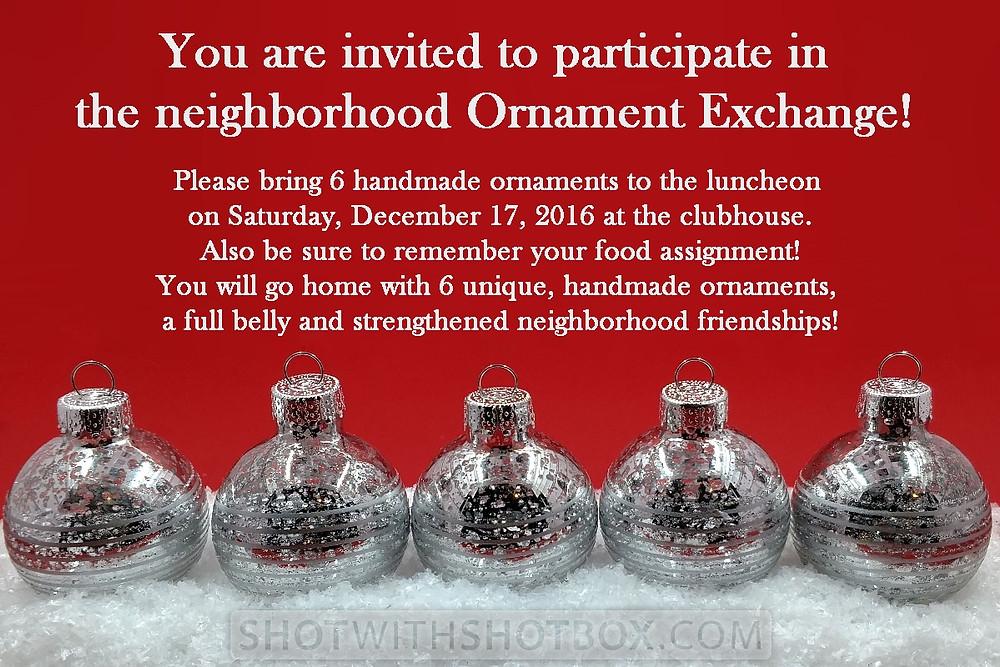 Silver Christmas Ornaments Invitation
