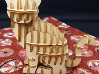 Japanese Wooden Art Cat