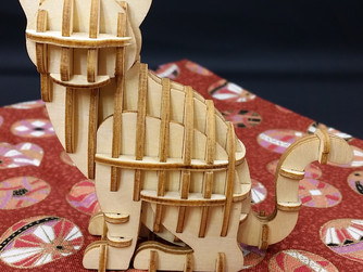 Japanese Wooden Art Cat