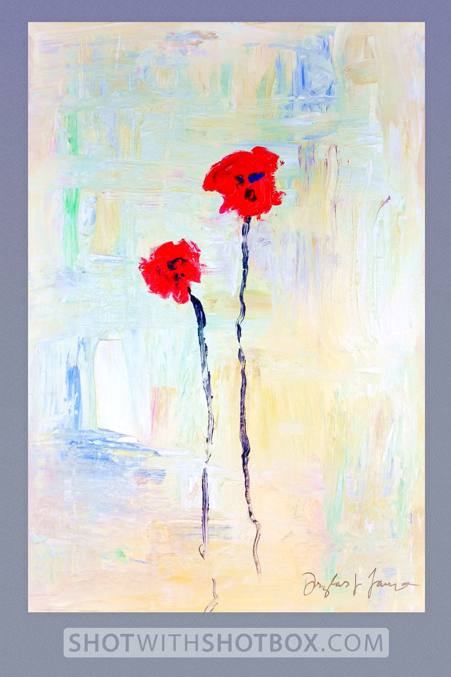 Impressionistic red flowers