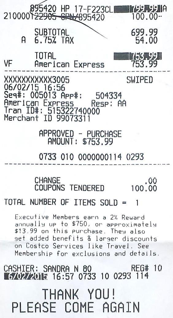 Electronics receipt