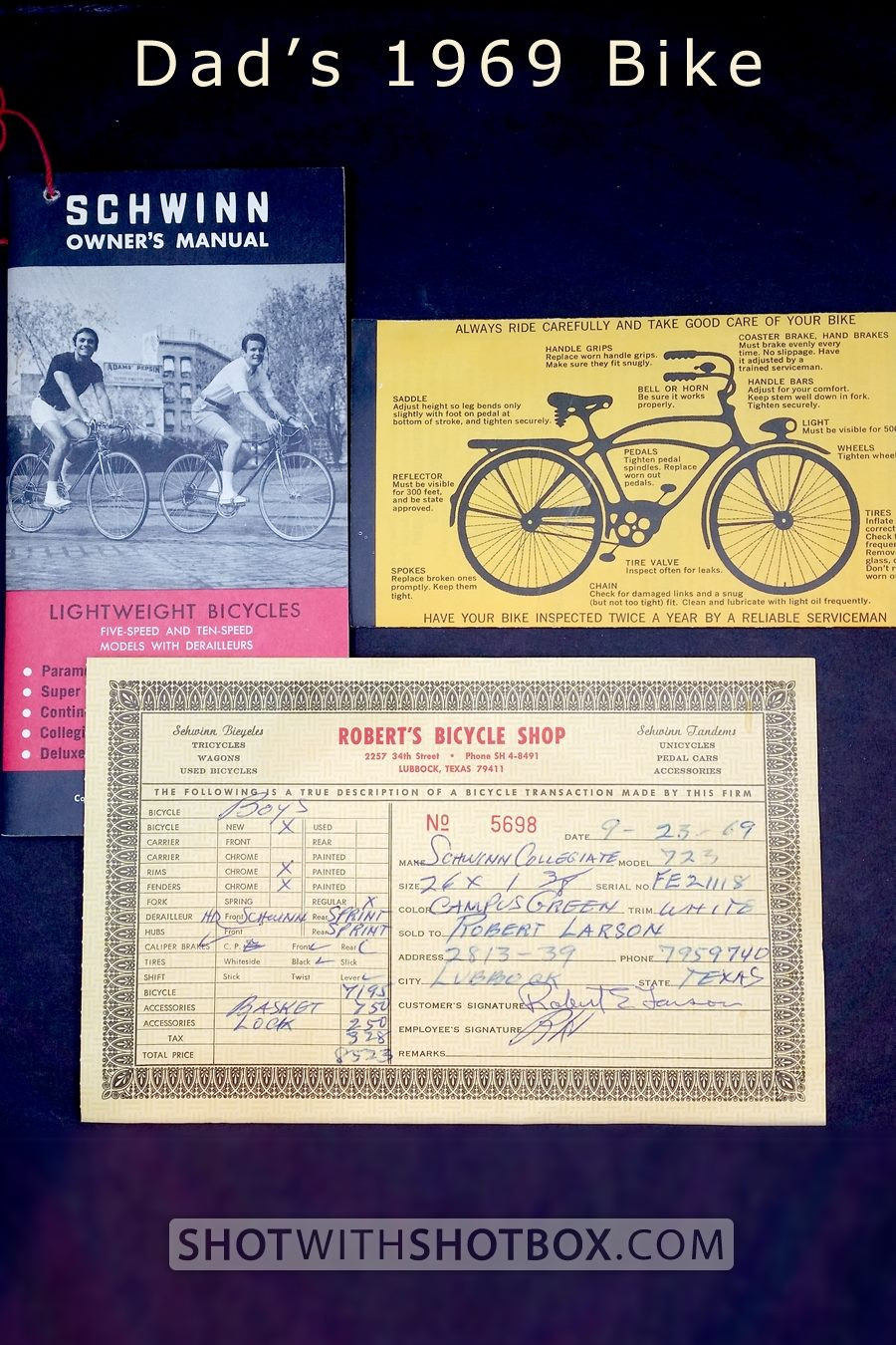 1969 bicycle receipt and documents