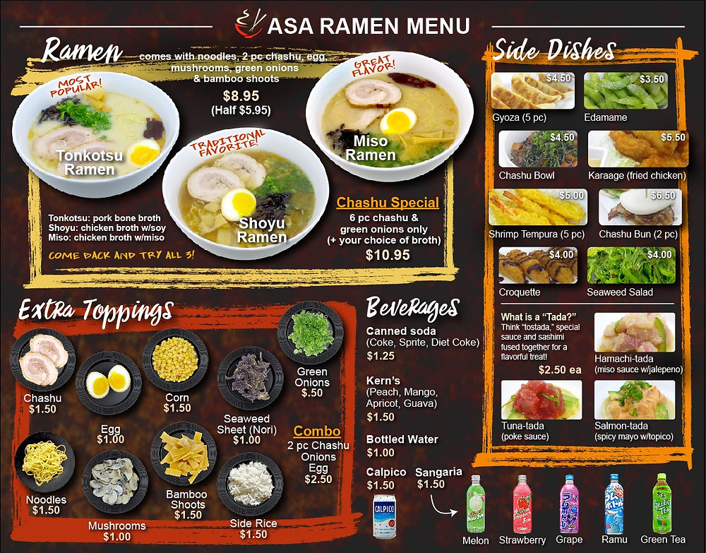New Asa Ramen Menu