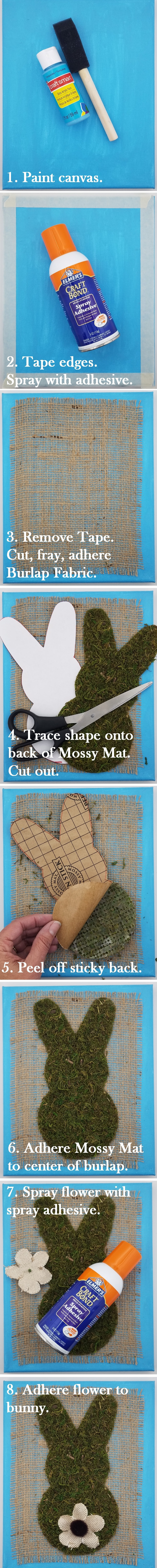 Step by Step Instructions for Mossy Easter Bunny Wall Art