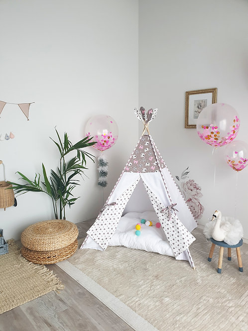 Pink and Taupe Bears White Teepee Tent Double Sided Doors