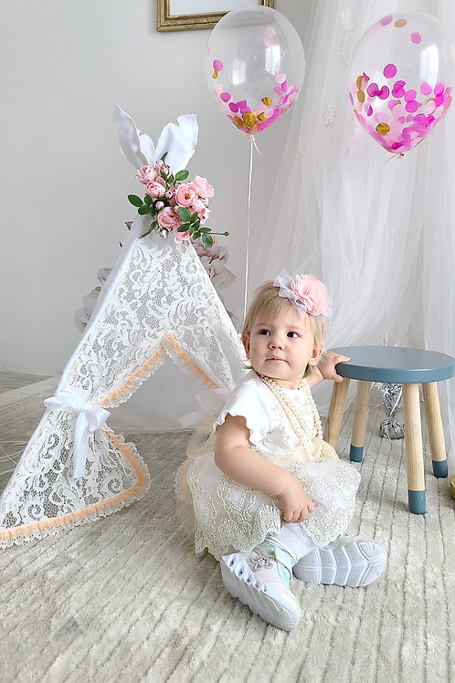 White Lace Photo prop Girl's Teepee Tent