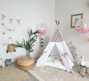 White Pink Taupe bears with arrows girls teepee tent
