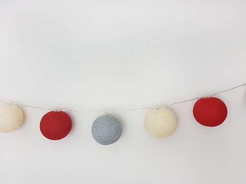 Red, Ivory, Grey Cotton Balls String Light