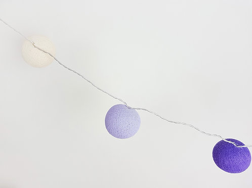 Ivory, Lavender, Purple Cotton Balls String Light