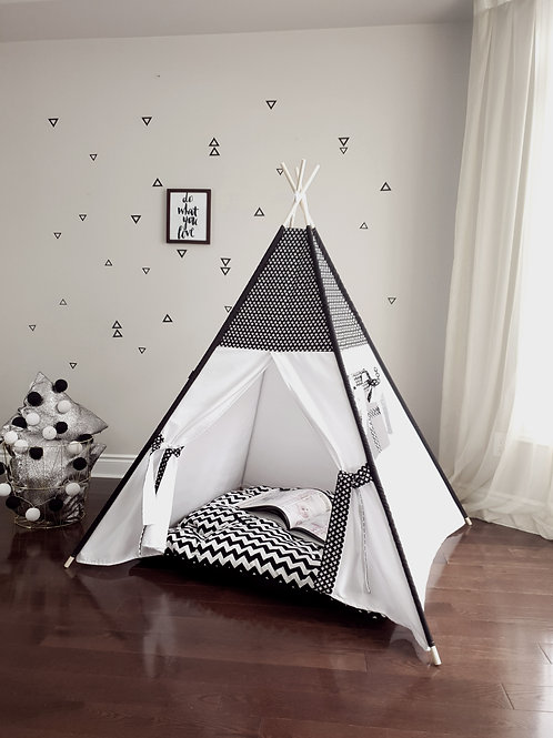 Black and White Swiss Cross Combo Teepee.