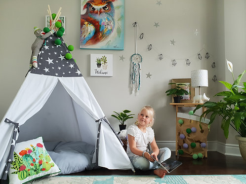 Stars on Grey and White Combo Teepee