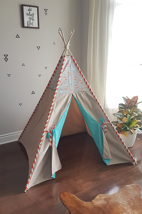 Little Foxes Grey Orange Zig-zag Turquoise Doors Play Teepee.