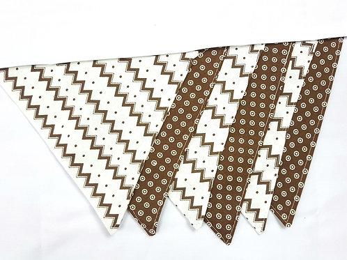 2 Patterns Fabric Flag Banner. Brown White Polka dot and Chevron