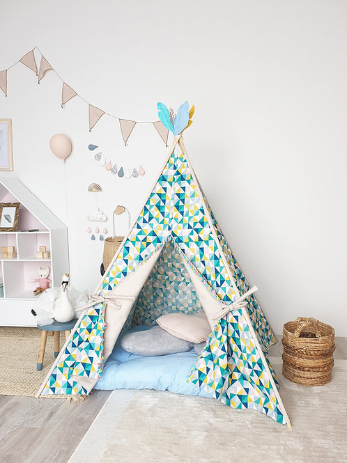 Multi Colour Triangles with Tassels Teepee Tent