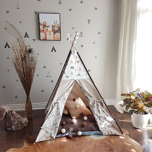 Racoon, Fox, Feathers Taupe Combo Play Teepee