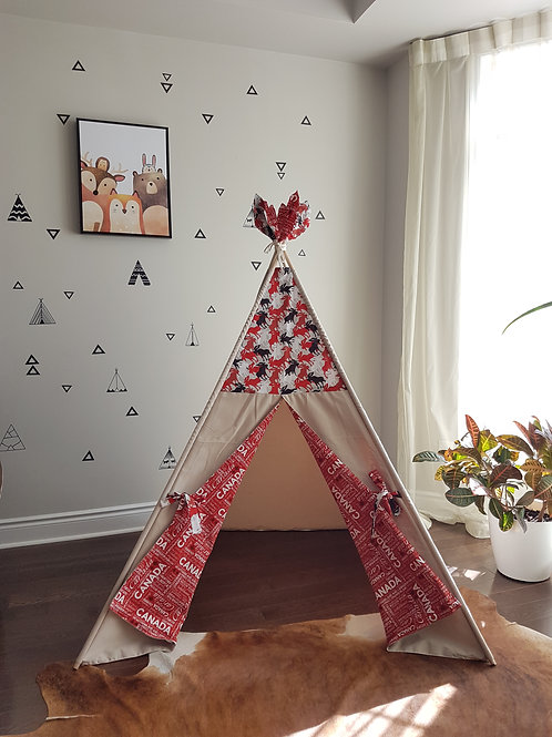 Canada Eh! Moose Red Taupe Teepee Tent
