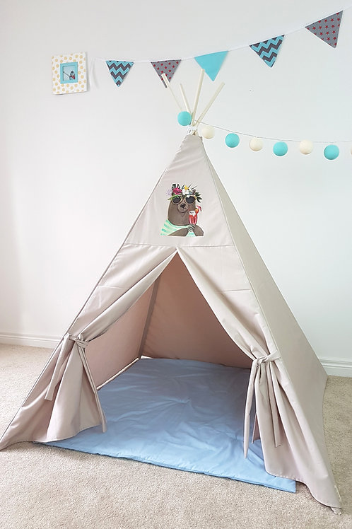 Relaxed Cocktail Bear. Stone colour Teepee.