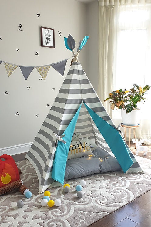 Grey and White Stripes Combo with Turquoise doors Unisex Teepee