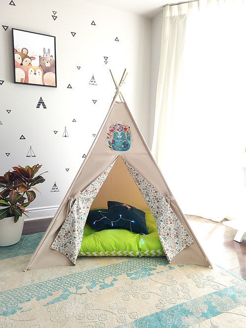 Cat in Flowers Teepee Tent Double Sided Doors