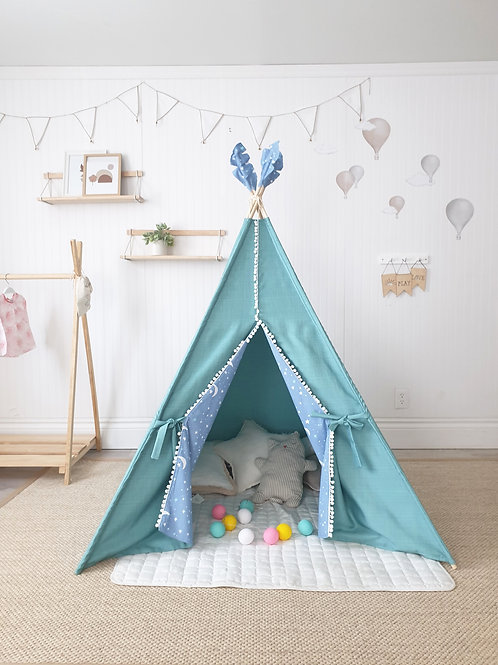Stars and Tassels Turquoise Teepee Tent Double Sided Doors