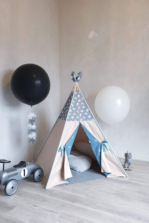 Bears Grey Taupe Blue Teepee