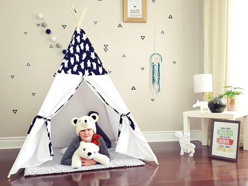 Polar Bear Navy and White Teepee
