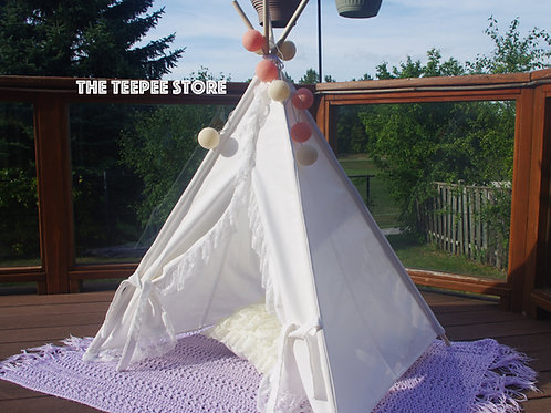 Ivory with frills Pet's Teepee, Doll House