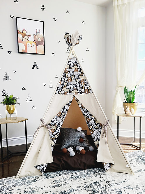 Brown forest cute animals pattern on taupe Teepee Tent