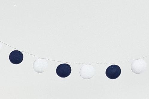 White and Navy Cotton Balls String Light