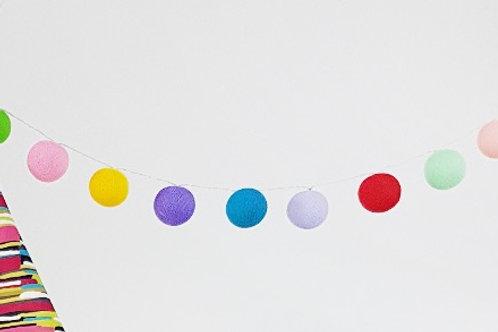 Rainbow Mix Cotton Balls String Light