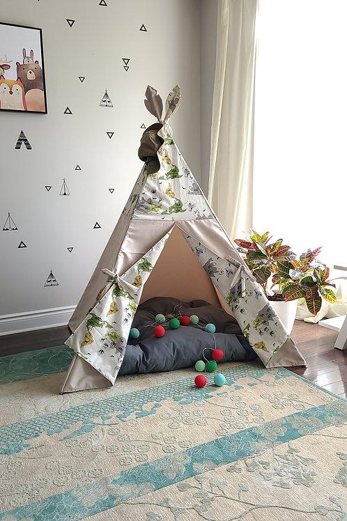 World Animal Map Taupe Teepee Tent