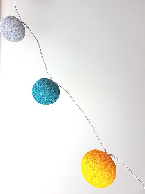 Teal/Grey/Orange Cotton Balls String Light